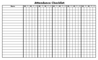 Blank Weekly Attendance | Calendar Template 2016