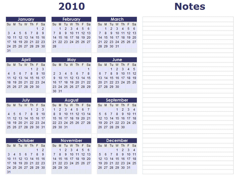 Blank Calendars - Yearly Calendar Forms and Templates