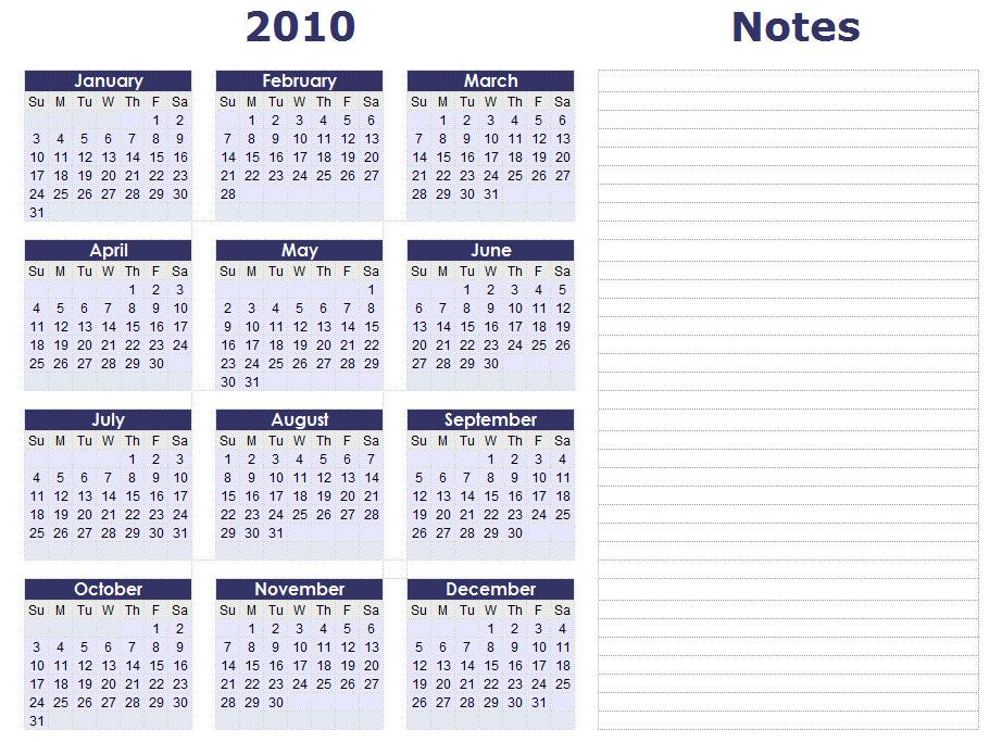 yearly calendar template. 2010 Calendar
